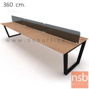 ชุดโต๊ะทำงานกลุ่ม   4 ,6 ที่นั่ง ขนาด 240W ,360W cm.  พร้อมมิสกรีนกระจกสีดำ ขาเหล็กทรงคางหมู