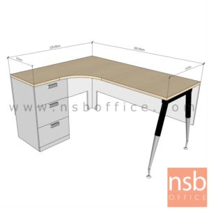 A16A064:โต๊ะทำงานตัวแอลหน้าโค้งเว้า 3 ลิ้นชัก  ขนาด 150W1*120W2 ,150W2 cm.  ขาปลายเรียว