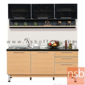 K02A011:ชุดตู้ครัวสีบีทดำ 180W cm. รุ่น SR-STEP-12 รุ่น SR-STEP-12  (สำหรับครัวเปียกและครัวแห้ง)