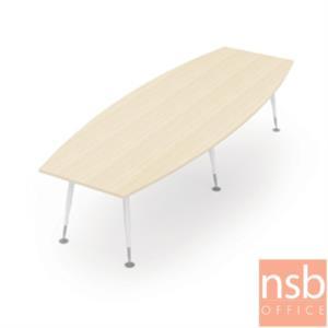 A05A181:โต๊ะประชุมทรงเรือ  ขนาด 320W cm. ขาเหล็กพ่นสีขาว