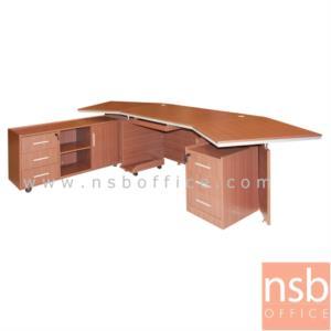 A13A035:โต๊ะผู้บริหารตัวแอล  รุ่น Spike (สไปค์) ขนาด 300W cm. พร้อมตู้ข้างและลิ้นชัก