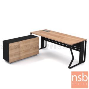 A18A057:โต๊ะผู้บริหารทรงสี่เหลี่ยม รุ่น Cameo (คามิโอ) ขนาด 180W cm. พร้อมตู้ข้างล้อเลื่อน ขาเหล็ก