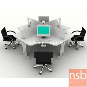 ชุดโต๊ะทำงานกลุ่ม 4 ที่นั่ง  รุ่น TY-WS014G  ขนาด 240W cm. พร้อมมินิสกรีนกระจก