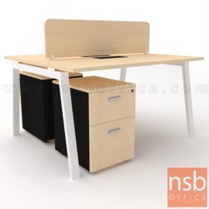 A27A047:ชุดโต๊ะทำงานกลุ่ม 2 ที่นั่ง รุ่น Slash-4 (สแลช-4)  พร้อมมินิสกรีนและลิ้นชักข้าง ขาเหล็ก