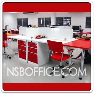 ตัวอย่างติดตั้งหน้างาน ชุดโต๊ะทำงานกลุ่ม Hybrid หลายๆรูปแบบ