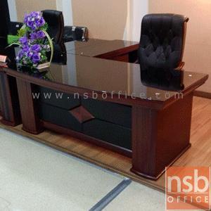 A06A085:โต๊ะบริหารตัวแอลหน้ากระจก  รุ่น IDS-CORONA-1  ขนาด 200W cm. พร้อมตู้ข้างและตู้ลิ้นชัก